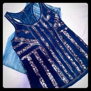 Express blue sequins tank small